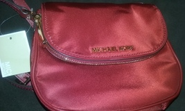 Michael Kors Dark Red Bedford Nylon Flap Crossbody Handbag Purse New Wit... - $89.99