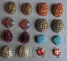 8 Pr Vintage Clip On Rhinestone Paved Plastic Domed Earrings Red Blue Pu... - $26.99