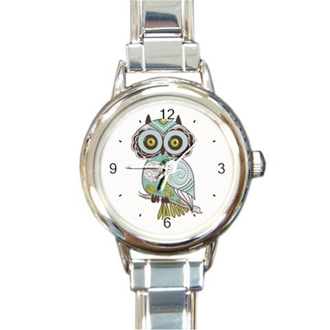 Ladies Round Italian Charm Bracelet Watch Green Brown Owl Gift model 34734686