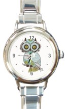Ladies Round Italian Charm Bracelet Watch Green Brown Owl Gift model 347... - £9.62 GBP