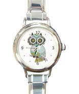 Ladies Round Italian Charm Bracelet Watch Green Brown Owl Gift model 347... - $16.07 CAD