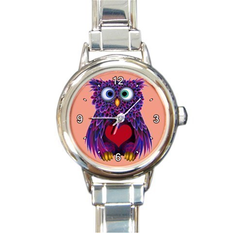 Ladies Heart Italian Charm Watch Valentines Day Purple Owl Gift model 34734679
