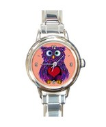 Ladies Heart Italian Charm Watch Valentines Day Purple Owl Gift model 34... - $11.99