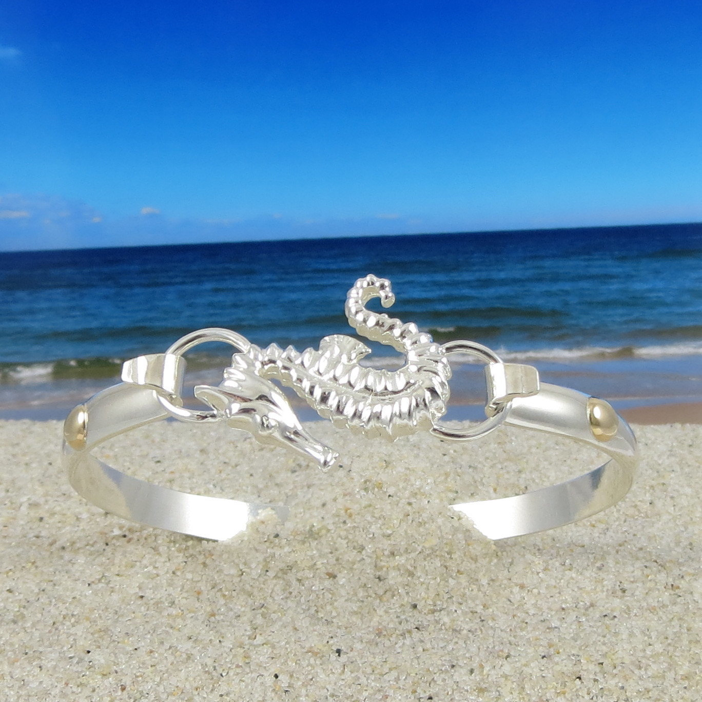 Cape Cod Convertible Seahorse Bracelet Sterling Silver With 14k Gold Accents