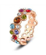 multi color Swarovski crystal cocktail ring hot sale hollow cirle ring - $20.69
