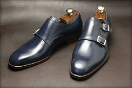 Handmade mens Real leather Monk shoes Men Navy blue Leather formal shoes - $159.99