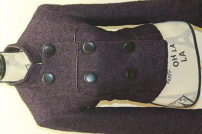 Kensie Women Military Double Breasted Tweed Violet Blazer Black Piping Med Wool