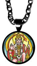 "Evolved Lord Hanuman 5/8"" Mini Stainless Steel Black Pendant Necklace - $21.95"