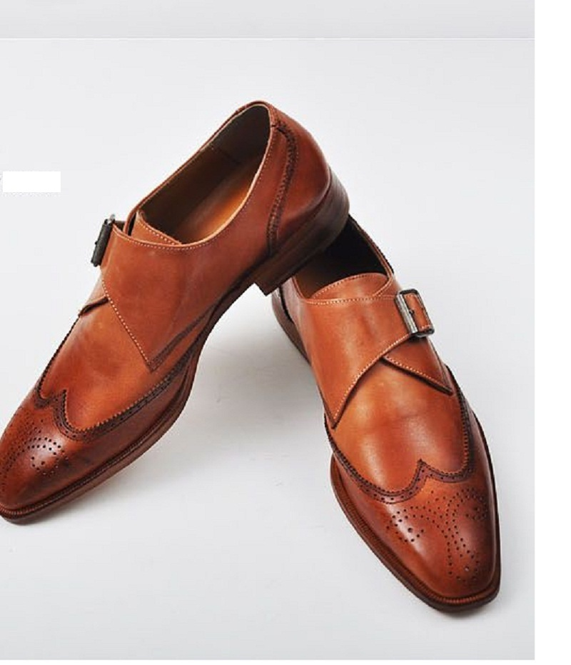 handmade color dress shoes mens leather monk shoes
