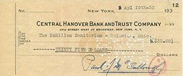 Paul McCullough (d. 1936) Signed Autographed Vintage Personal Check - $34.64