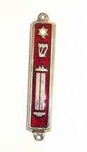 Judaica Red Enamel Gold Tone Mezuzah Case Magen David Scroll Decoration 7 cm