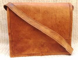 Men's Vintage Brown Leather Full Flap Messenger Rare Satchel Shoulder Bag - $25.00