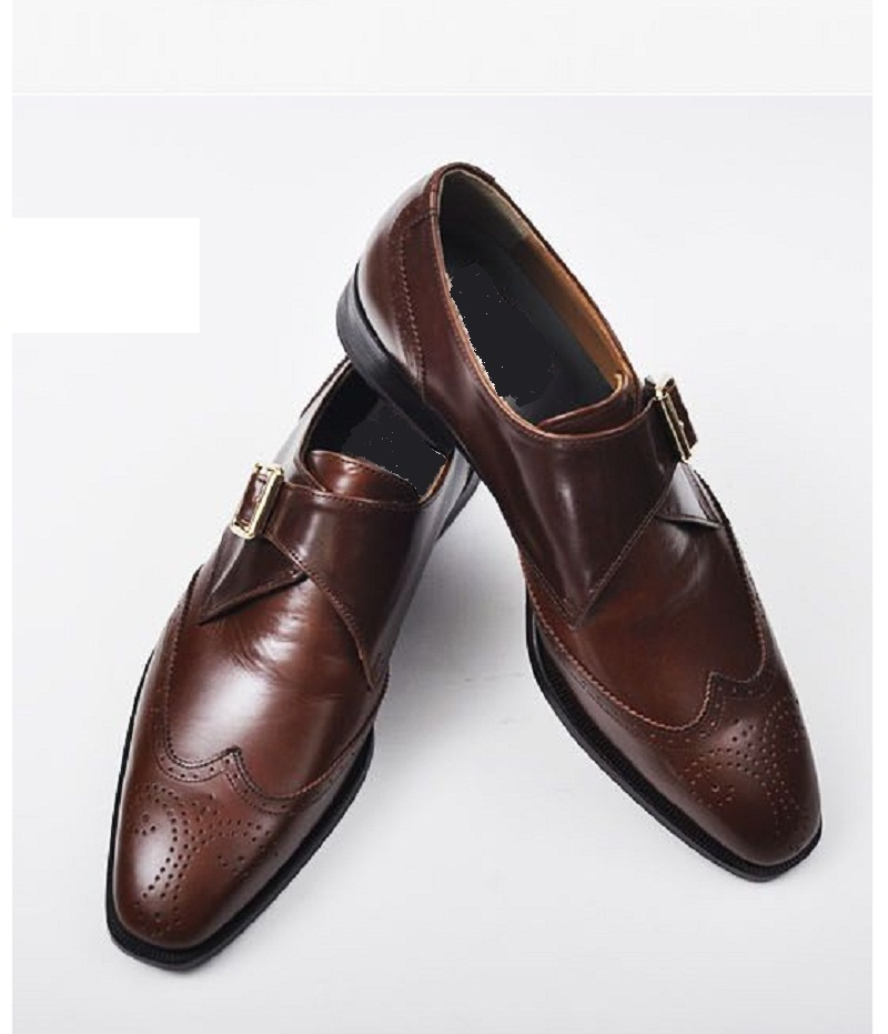handmade brown dress shoes mens leather monk shoes