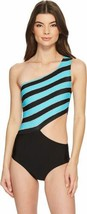 Michael Kors Striped One-shoulder Cutout One-Piece Swimsuit (Turquoise, 10) - $144.80 CAD