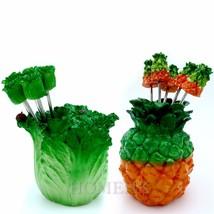 PineApple Cabbage Vegatable Fruit Fork handmade home decor Resin Art Collectible - $7.18
