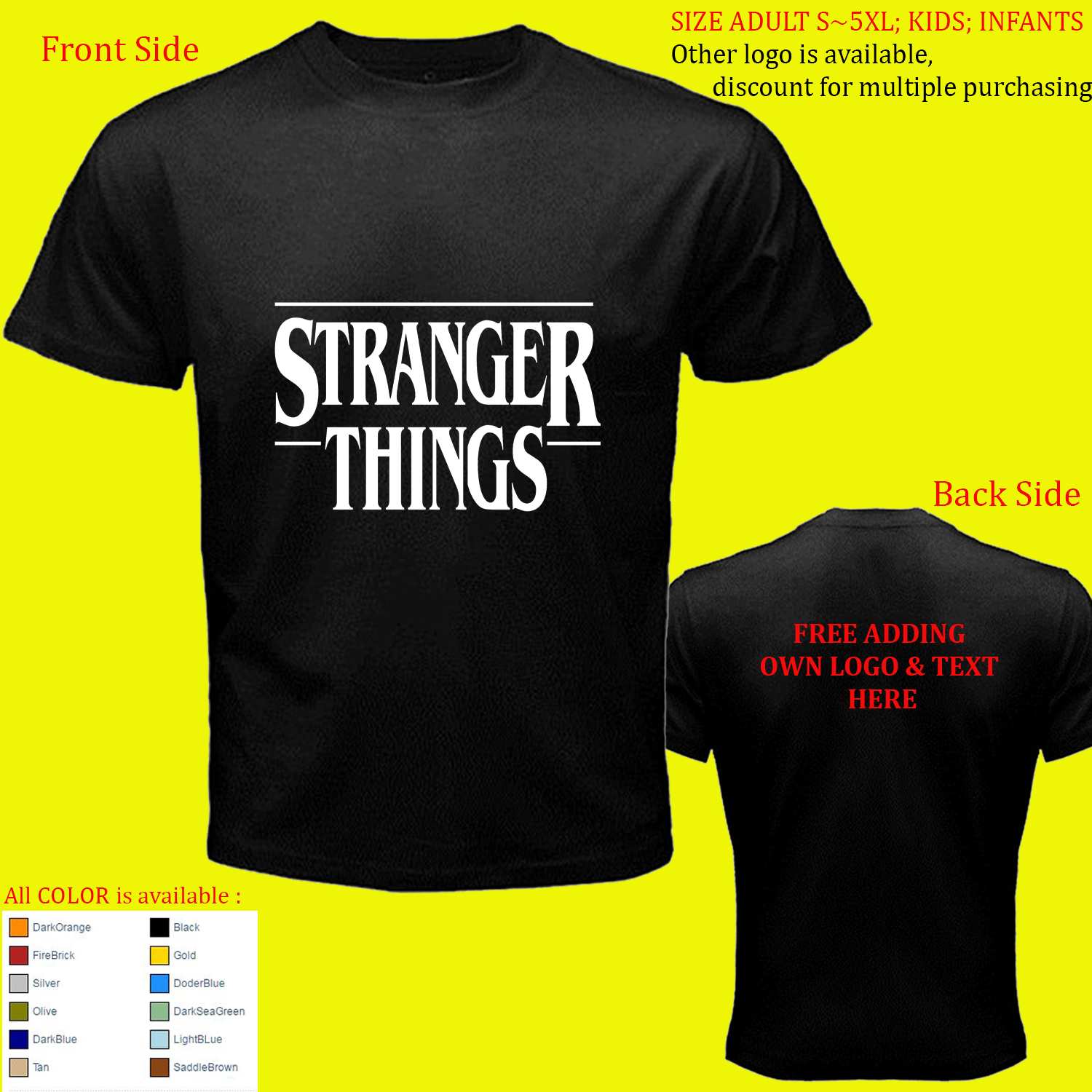 stranger things t shirt s m l xl 2xl 3xl 4xl and 50. Black Bedroom Furniture Sets. Home Design Ideas