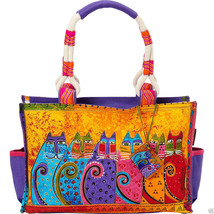"NWT Laurel Burch Yellow Feline Tribe Medium Satchel Tote 15.5"" x 10"" SHI... - $42.75"