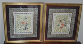 Pair of Vintage Chinese Asian Silk Embroidery Textile Art Flowers Butterfly - $52.25