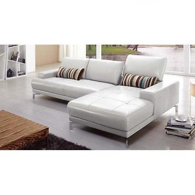 BH Urban Gray Sectional Sofa Top Grain Leather Right Facing Contemporary Style