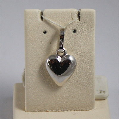 18K WHITE GOLD PENDANT, 0,75 Inches, STYLIZED ROUNDED HEART, MADE IN ITALY