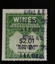 1951-54 $2.01 U.S.A. Internal Revenue Cordial & Wine, Green Scott RE199 ... - $1.79