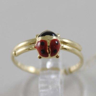 SOLID 18K YELLOW GOLD RING WITH GLAZED LADYBIRD LADYBUG FOR GIRL, MADE IN ITALY