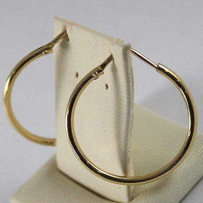 18K YELLOW GOLD CIRCLE EARRINGS HOOP, TUBE, DIAMETER 0.98 INCHES MADE IN ITALY