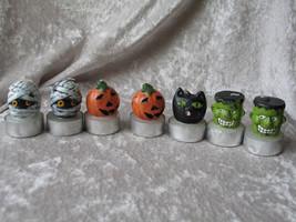 7 Little Halloween Candles - Mummy, Pumpkins, Cat and Frankensteins - $10.29
