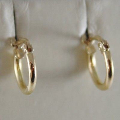18K YELLOW GOLD EARRINGS MINI CIRCLE HOOP 10 MM 0.39 IN DIAMETER MADE IN ITALY