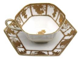 Antique Nippon Hand Painted Grape Vine Gold Hexagon Teacup & Saucer Set - $157.50