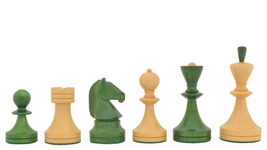 Reproduced Russian (Soviet Era) Chess Set in Stained Green Ash Burl VJ086 - $263.99