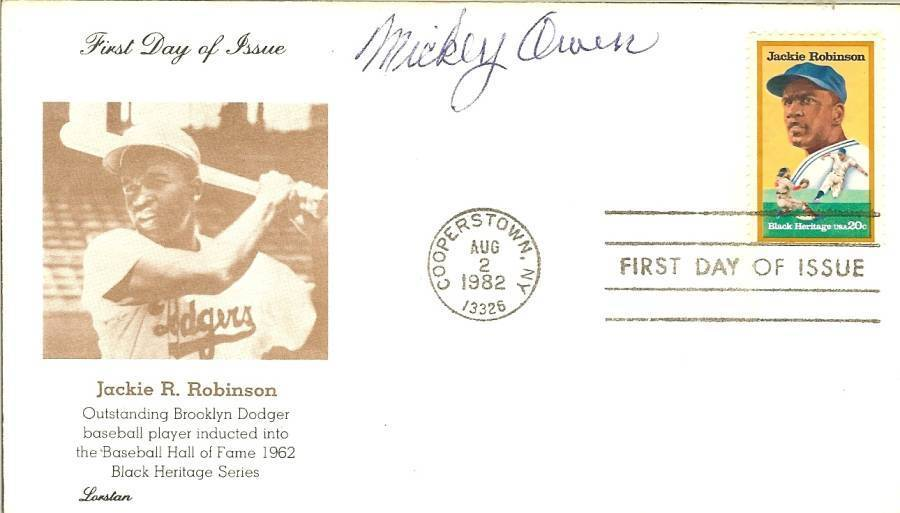 mickey owen dodger cubs autograph signed jackie robinson first day issue stamp