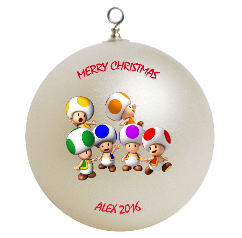 Personalized Super Mario Toads Christmas Ornament Gift - $24.95