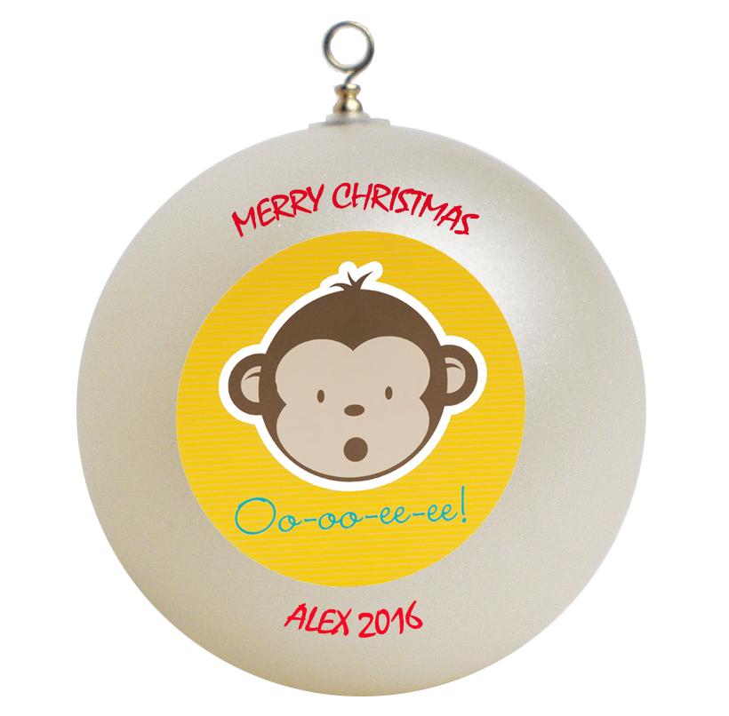 Personalized Mod Monkey Christmas Ornament Gift