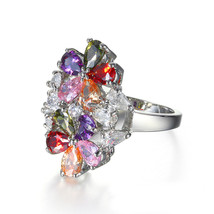 Colorful Zircon Swarovski Element Crystal Gorgeous Cocktail Ring AAA Grade - $20.68
