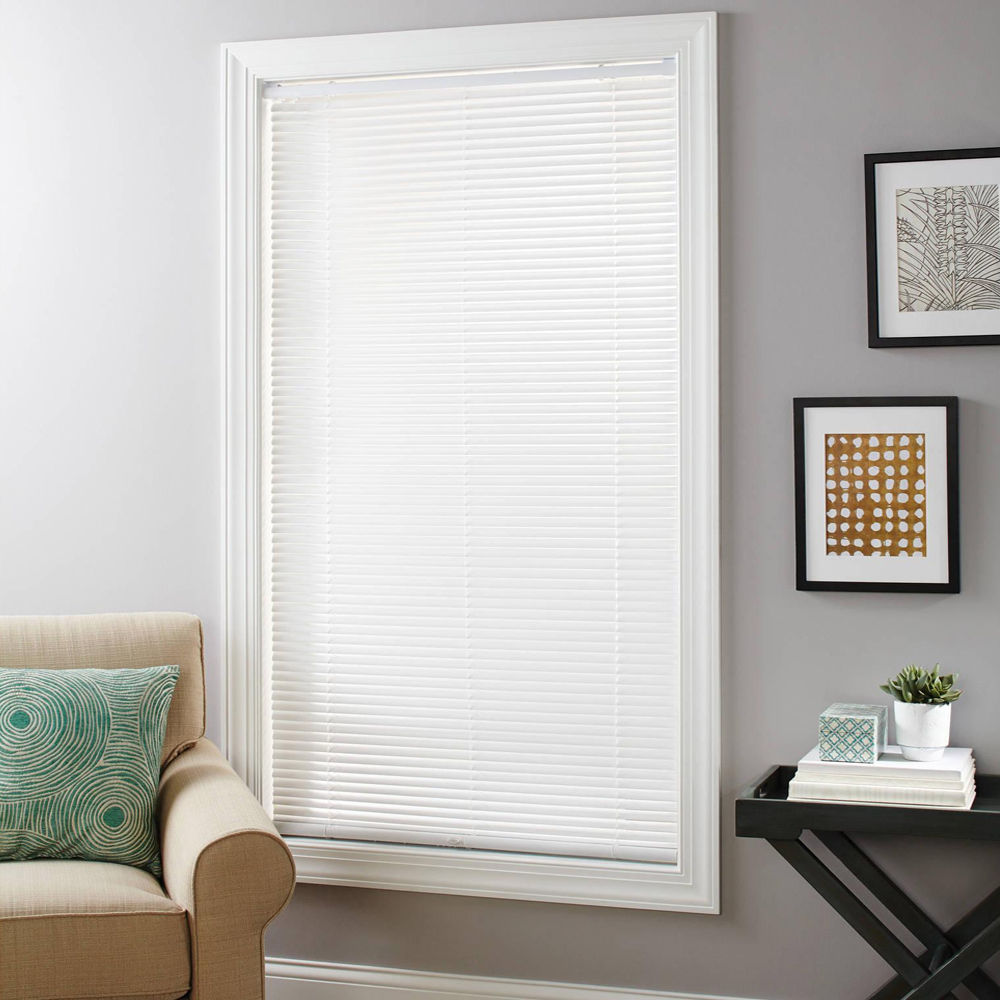 "Primary image for Sundown White Cordless Deluxe Room Darkening 1"" Window Mini Blinds"