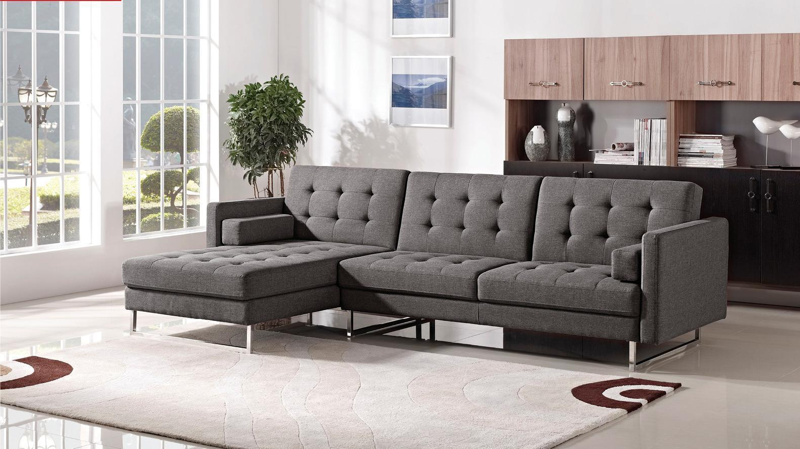 ESF Modern 1471 Grey Fabric Sectional Sofa Left Hand Chaise