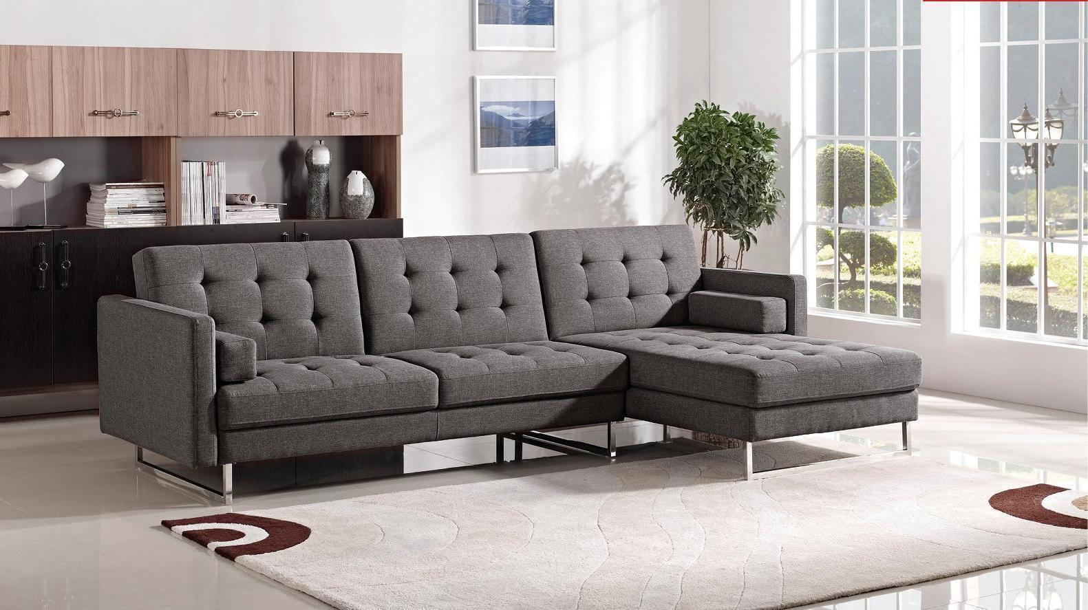ESF Modern 1471 Grey Fabric Sectional Sofa Right Hand Chaise