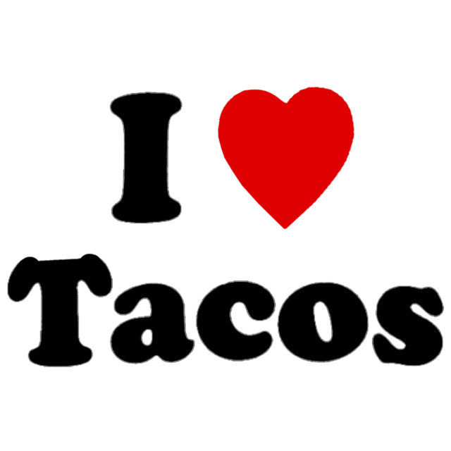 I Love Tacos Men's Women's Unique Custom Printed White T-Shirt