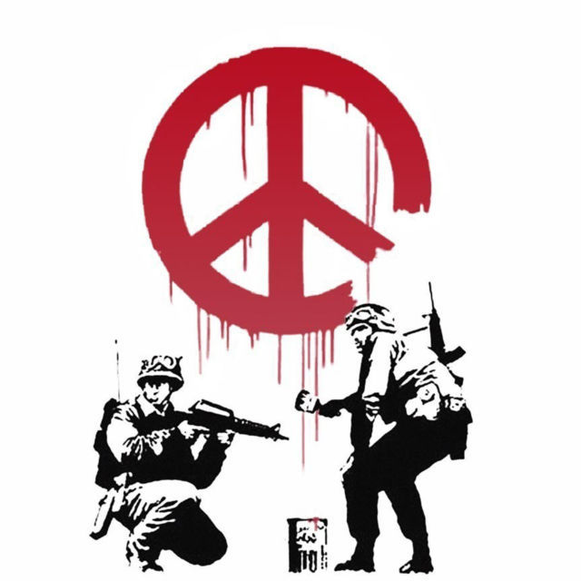 Banksy Soldiers Peace Sign Men's Women's Unique Custom Printed White T-Shirt