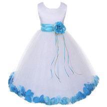 White Satin Bodice Layers Tulle Skirt Turquoise Flower Ribbon Brooch and Petals - $48.00
