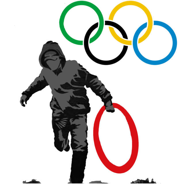 Banksy Olympic Rings Men's Women's Unique Custom Printed White T-Shirt