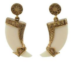 New Old Stock House of Harlow 1960 tribal sunburst Horn drop Earrings go... - $49.49