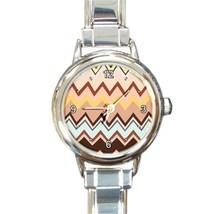 Ladies Round Italian CharmWatch Zig Zag Stripe Brown Hip Fashion Gift 30... - $16.45 CAD