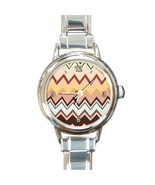 Ladies Round Italian CharmWatch Zig Zag Stripe Brown Hip Fashion Gift 30... - $16.50 CAD