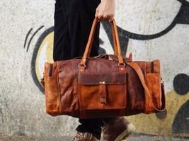 New Large genuine Leather large vintage duffle travel gym weekend overnight bag - $40.00