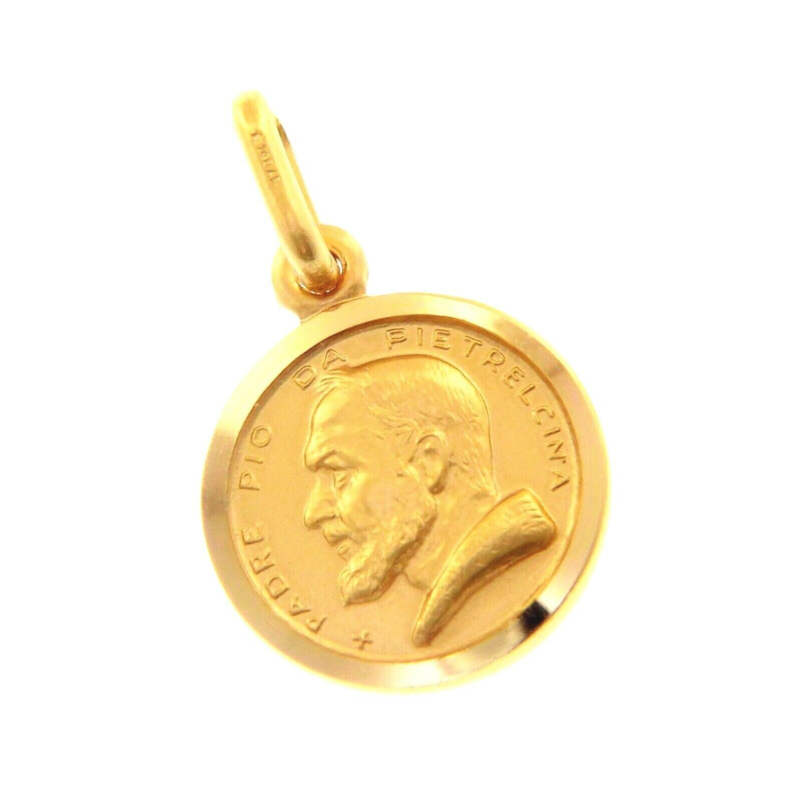 18K YELLOW GOLD MEDAL PENDANT, SAINT PIO OF PIETRELCINA SMALL 13mm VERY DETAILED