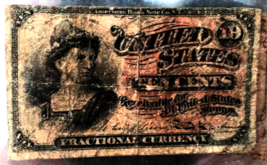 1870's US Fractional Currency - 10 CENTS - Scarce Post Civil War Issue F... - $8.95