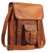 Men's messenge Leather satchel Vintage Leather Bag Shoulder Bag for i Pad - $40.00