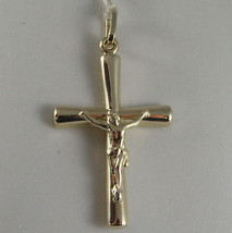 SOLID 9K YELLOW GOLD CROSS WITH JESUS CHRIST, MADE IN ITALY, 9KT